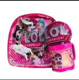 mochila lol feminina infantil lol + Bola LOL Surpresa + Copo LOL brinquedot
