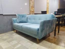 Sofá semi novo 1,70m, azul, Eros Bianchi