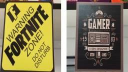 Título do anúncio: Placas Decorativas 10x15cm- Gamer - Mario Fortnite Pacman Nintendo Freefire