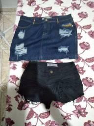 Shorts e saias jeans