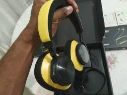 Fone Bluedio T6 Bluetooth 30 horas de autonomia AMARELO