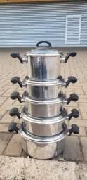 Vendo Jg de Panela em alumínio grosso c/ tampa de vidro temperado