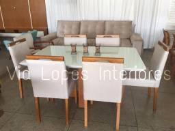 Mesa de 1.60 com seis cadeiras floral, via lopes 62 9  *