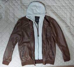 Jaqueta de couro masculina com capuz removível marrom