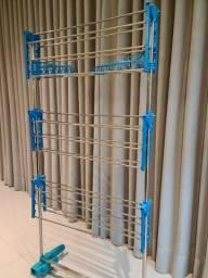 Varal Chão Roupas 3 Andares Retrátil Dobrável Aço Inox Azul