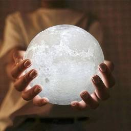 Luminária Lua Cheia Abajur Led Decoração