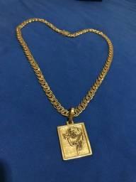 Título do anúncio: Corrente Carioca com Pingente banhadas a ouro Feito de Moeda antiga