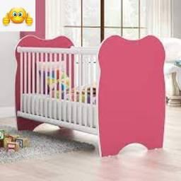 berço infantil branco/rosa BB010 DJD