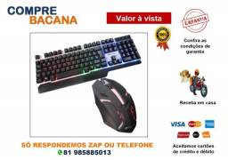 Kit Teclado Semi Mecânico Gamer + Mouse Led BS-503