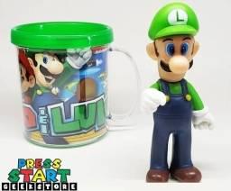 kit copo + boneco Luigi