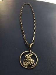 Cordão de moeda antiga mais pingente do São Jorge