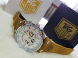 Relogio JW - Cronografo - Datador - Esporte fino em COUR0 Marrom com Logotipo TG
