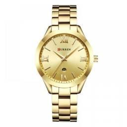 Relógio Feminino Curren Analógico C9007L Original- Dourado