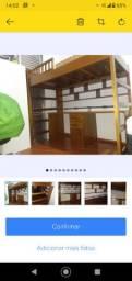 cama suspensa tipo beliche com Escrivaninha em madeira maciça com 4 gavetas, nis.