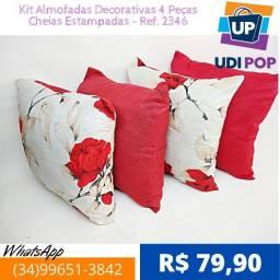 Kit Almofadas Decorativas 4 Peças Cheias Estampadas - Ref. 2346