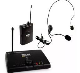 Microfone Headset Sem Fio Profissional Skp Uhf Mini-v