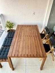 Conjunto de mesa madeira solida.
