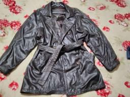 Casaco em couro legítimo importado forrado veste um g g