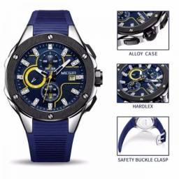 d4461ea3170 Relógio Masculino-Megir Sport Pulseira Azul Novos