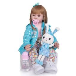 Boneca Bebê Reborn Realista Grande 60cm Com Cabelo Comprido