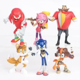 Sonic Coleção C/ 6 Bonecos Action Figure Knuckles Dr Eggman