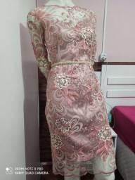 Vestido de festa bordado rosê