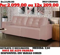 Black Friday Presidente Prudente - Sofa Retratil e Reclinavel 2,50 - Direto da Fabrica