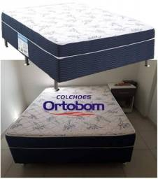 Vendas: Cama Box Casal Ortobom Conjugado 43cm de Altura - Physical Blue