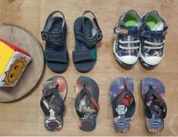 Lote calçados menino sanndalias e tênis.