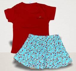 10 CONJUNTOS COTTON SAIA FEMININO INFANTIL POR 170,00 REAIS.