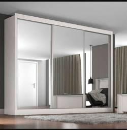Guarda Roupa Casal 3 Portas c/ Espelho e 3 Gavetas - Branco