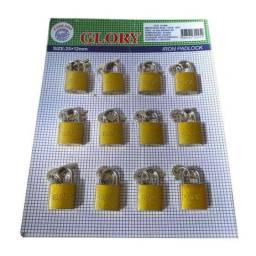 Cartela Cadeados 12 unidades 25x12mm Com 2 Chaves