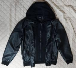 Jaqueta de couro masculina com capuz removível preta