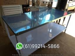 Mesa Inox 190x80 cm Tampo em Inox Braesi com Paneleiro
