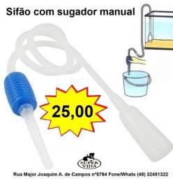 Sifão para limpeza de Aquarios com bombeamento manual