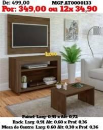 Rack com televisão e Painel de tv e Estante de TV E Mesa d eCentro