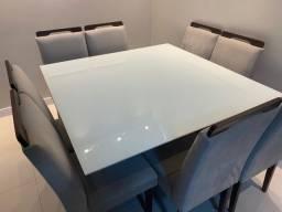 Título do anúncio: Mesa de Jantar (Madeira/Laca) c/ Tampo de Vidro + 8 cadeiras