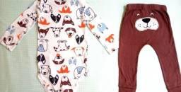 Conjunto Carter's Body longo e calça , Tam 18 meses, tema Dogs, masculino<br>