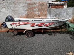 Lancha alumínio + motor 50 hp + carreta - 1989