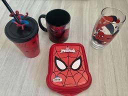 Kit Homem aranha Spider man sanduicheira copos e caneca