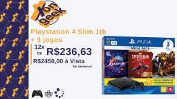 PS4 Slim 1tb + 3 jogos | Lacrado com 6 meses de garantia