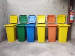 Contentor Contêiner Lixo Novo Ponta de Estoque com Rodas e Tampa 120 Litros