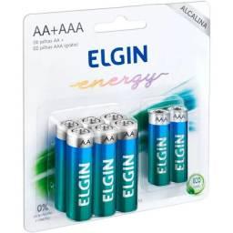 Kit com Pilhas Alcalinas 6xAA + 2xAAA Elgin