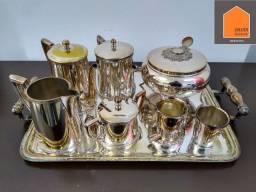 Conjunto de chá/ café banhado a prata desgastada