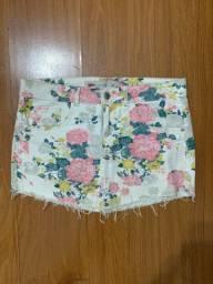 Saia jeans - estampa flores- tamanho 40
