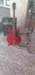 Guitarra+case+caixa aplificadora+2suportes+1 pedestal+1 cabo