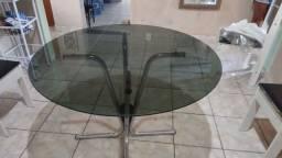 Mesa de vidro inox temperado redonda 6 lugares