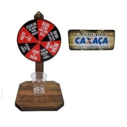Roda Shot Roleta Tequila Beber Roleta Drink Shot + 1 Placa de Carro Adesivada