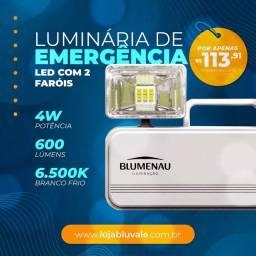 Luminária emergência 2 farol led 600lm