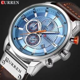 Título do anúncio: Relógio Curren com cronógrafo, caixa em aço inoxidável e pulseira de couroPU.